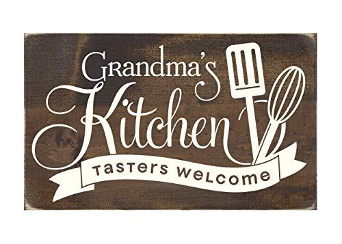CiCiDi Placa rústica de madera para abuela con texto en inglés 'Grandma's Kitchen Taster's Welcome