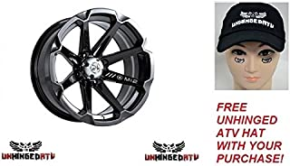 MSA M12 Diesel Wheel 15x7 4.0 + 3.0 Black and FREE Unhinged ATV Hat! – Fits: Polaris RANGER RZR 570 2012–2017