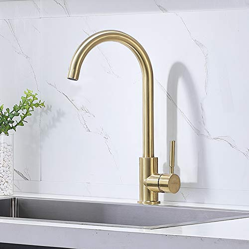 Comllen Best Commercial Gold Stainless Steel Single Handle Kitchen Sink Faucet, Hot and Cold Single Lever Bar Faucet