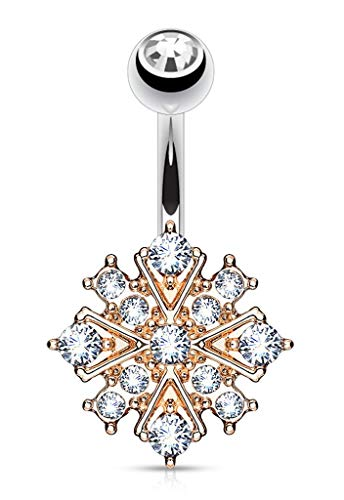 Forbidden Body Jewelry Surgical Steel Crystalline Paved Snowflake Belly Button Ring, Rose Gold Tone/Clear