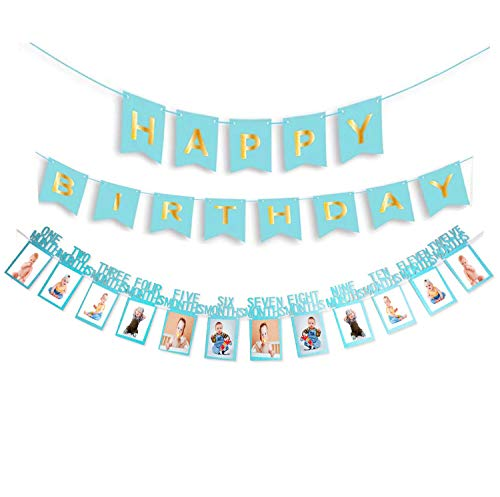 Baby Erster Geburtstag Foto Banner, Baby 1-12 Monate geburtstag girlande deko foto banner für Erste Heilige Kommunion, Baby-Dusche,Taufe, Party Dekor, hängende Foto Wanddekoration für Party