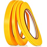 4 Rolls Fine Line Tape Fineline Automotive Masking Tape for DIY Car Making Auto Paint Thin Lines Paper Tape (Yellow,1/16, 1/8, 1/4 and 1/2 Inch x 52 Yard)
