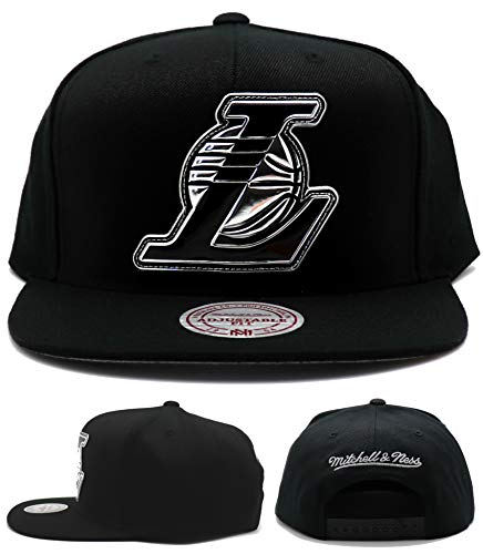 Mitchell & Ness Los Angeles Lakers Current Black & Silver TPU Logo Adjustable Snapback Hat