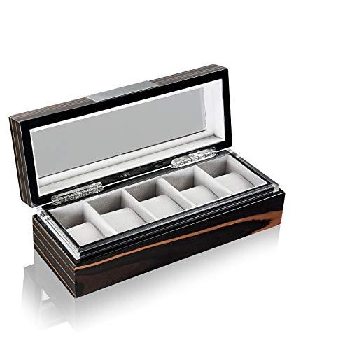 HEISSE & SÖHNE SEIT 1976® Uhrenbox Executive 5 Makassar mit Sichtfenster für 5 Armbanduhren