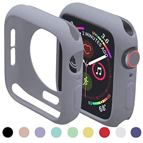 Miimall - Custodia protettiva per Apple Watch serie 3/2/1, 42 mm, flessibile, in TPU, antiurto, colore grigio chiaro