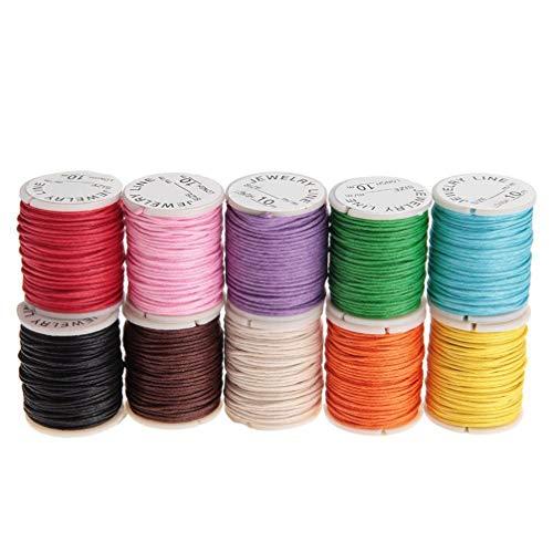 YARNOW 10Pcs Hilos Encerados Hilo de Coser de Cuero Cordones de Algodón Collar Cuerdas Cuentas para Hacer Joyas (Color Aleatorio)