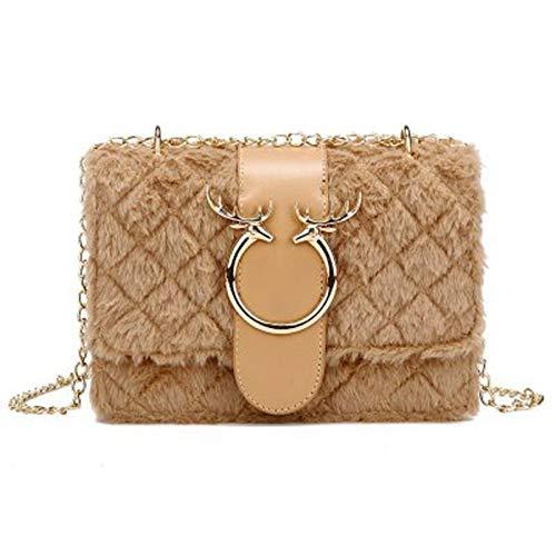 qwerasdf ladies shoulder bag plush woman messenger bag fashion chain small handbag casual backpack (Khaki, 20 * 15 * 8cm)