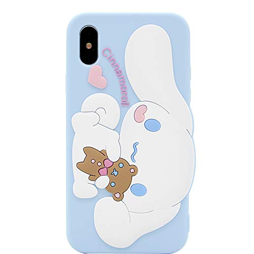 iPhone X Hülle, iPhone Xs Hülle, MC Fashion Cute 3D Cartoon White Puppy Dog Protective Soft Silicone Rubber Case for Apple iPhone X/Xs (5.8 Zoll)