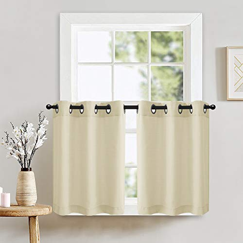 """Window Tiers Curtains for Kitchen Casual Weave Textured Privacy Curtain Panels Thick Semi-Sheer Café Curtains for Bathroom 1 Pair 24"""" Beige"""
