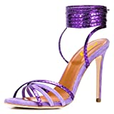 FSJ Women Strappy Ankle Wrap High Heels Sandals Open Toe Lace Up Cross Straps Stiletto Shoes Size 7 Purple