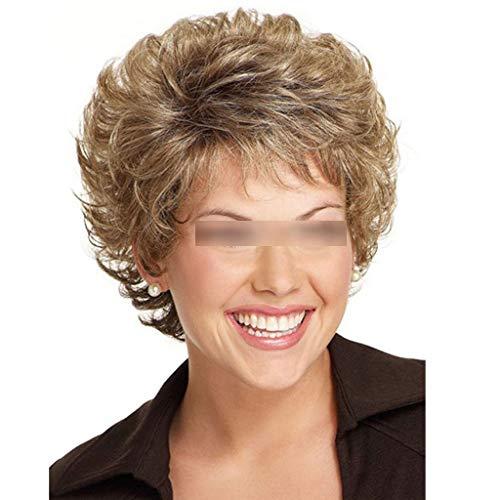 LDG Dames Korte Bob Pruik Hittebestendig Synthetisch Blond Haar for Oudere Lijmloze Pruik Cosplay Kostuums En Feestevenementen (Color : Linen brown)