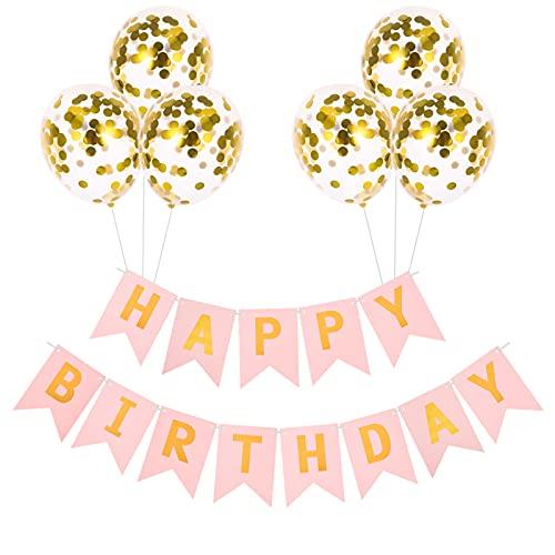 KroY PecoeD Banderole Joyeux Anniversaire Ballons Confettis, 1 Anniversaire Bannière Guirlande Happy Birthday et 6 Helium Ballons en Latex de Confettis doré Decoration de Fête Anniversaire(Rose)