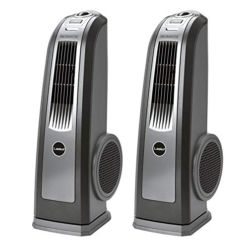 Lasko Space-Saving 3 Speed Oscillating High Velocity Blower Tower Fan (2 Pack)