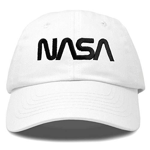 DALIX NASA Black Worm Hat Soft Baseball Cap Embroidered in White