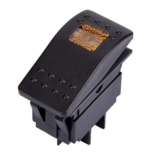 Interruptor basculante de 5 piezas DC 12V Interruptor de 4 pines IO con luz LED para batería de coche, barco y caravana(amarillo)