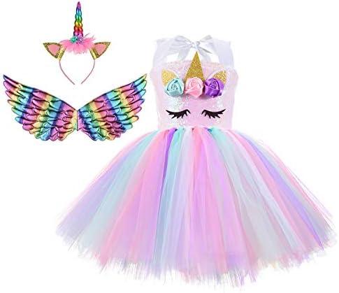 Unicorn Costume for Girls Rainbow Unicorn Dress for Little Girls Birthday Dress with Headband product image