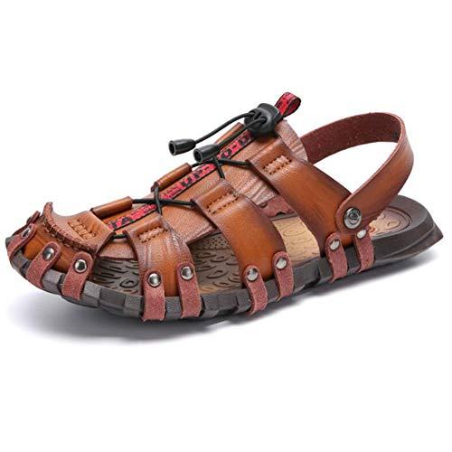 FTFDTMY Hombres Playa Cuero Sandalias,Senderismo Verano Zapatillas,Un par de Zapatos se Puede Usar de Dos Maneras,Dorado,43