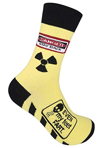 Omodofo Danger Stay Back, Even My Feet Fart Novelty Crew Socks, Original Unisex Funny Farting Joke Gift Apparel for Men Women Adult, Best Nerd Message Day Present With Saying, One Size Fits Most
