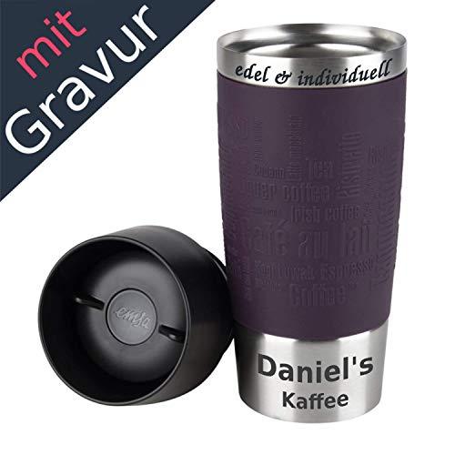 Emsa Isolierbecher Kaffeebecher 360 ml Lila + Lasergravur