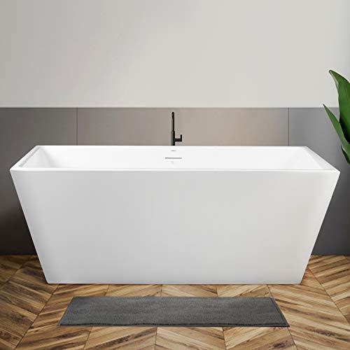 FerdY Palawan Freestanding Bathtub Rectangle Freestanding Soaking Bathtub Glossy White, cUPC Certified, Drain & Overflow Assembly Included (ferdy-02532-59-BN)