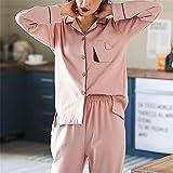 DUJUN Mujer Conjunto de Pijama de Manga Corta para Mujer con Pantalones Largos Suaves,Cardigan Holgado de algodón de Manga Larga Traje de Servicio a Domicilio A-2 XXL
