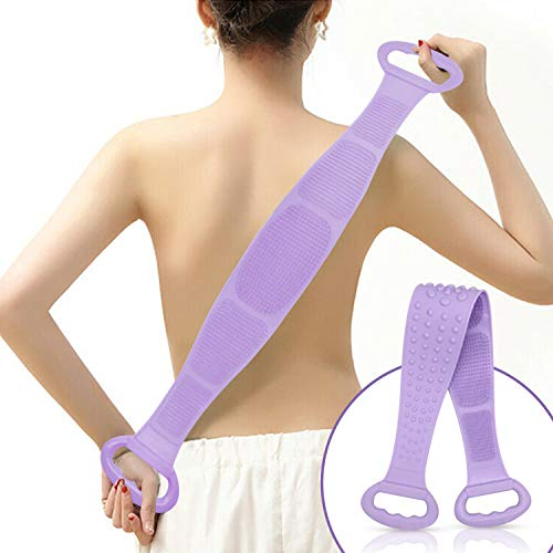 Silicone Bath Body and Skin Brush Belt, Body Back Scrubber,Easy to a Clean Eco Friendly,Long Lasting for Women & Men Comfort (Purple)