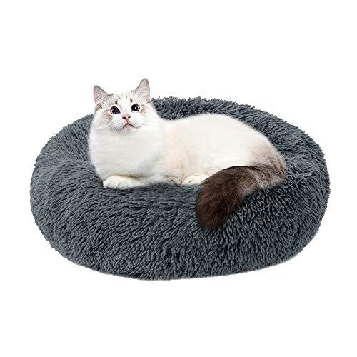 JuneJour Cama para Mascotas,Cama para Gatos Donut para Perros de Diámetro 60 cm, Cama con cojín para Mascotas para Perros y Gatos de Grande Mediano,Gris Oscuro