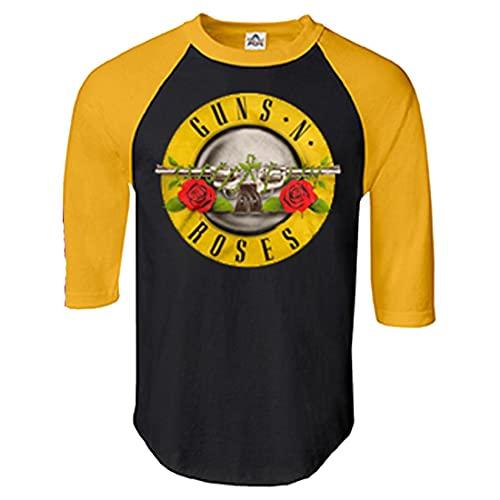 Men's Guns N' Roses Bullet Black and Yellow Baseball Shirt, M, XL