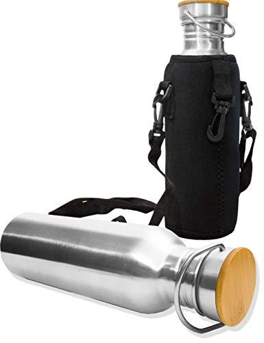 Outdoor Saxx® Roestvrijstalen metalen fles, drinkfles, grote opening, retro design, BPA-vrij, onbreekbaar, 750 ml met neopreen draagtas met karabijnhaak voor bevestiging, houten design deksel