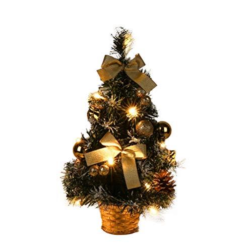 signmeili Mini Albero di Natale Decorativo, Piccolo Albero di Natale con luci e Ornamento, 40 cm di Albero di Natale da Tavolo Artificiale per Home Office Indoor