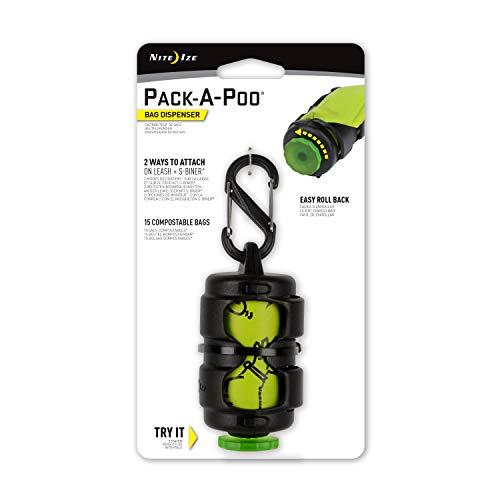 Nite Ize Pack-A-Poo Distributeur de sacs avec rouleau de recharge Noir/vert