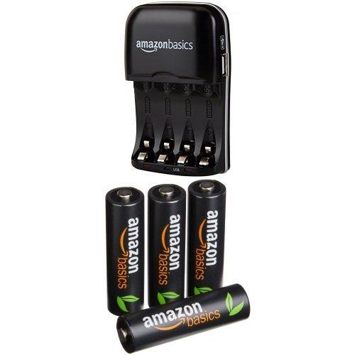 AmazonBasics - Carica batterie con 4 pile ricaricabili AA stilo ad alta capacità