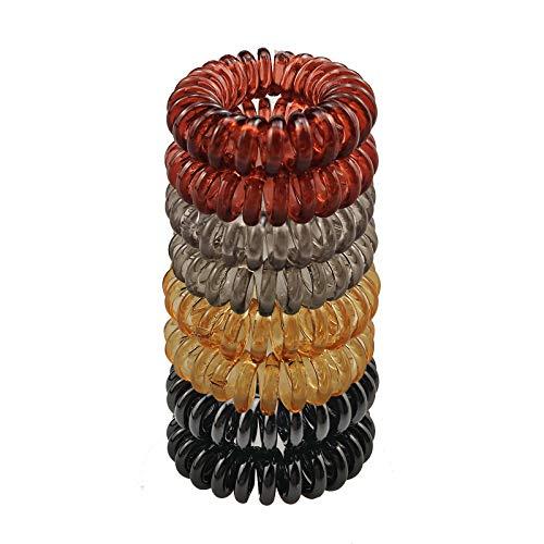Ealicere 8 Stück 4 FarbenTelefonkabel haargummi elastisch Haarband, Spirale Telefonkabel Zopfgummi Fitness Haarband Spiral Haargummi für Damen und Mädchen