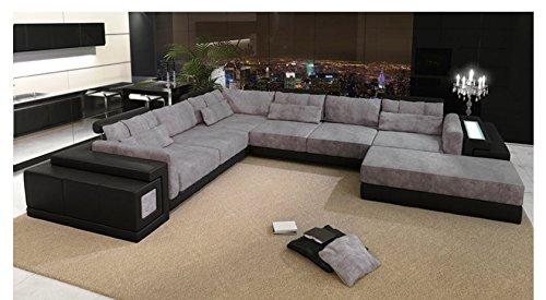 Bullhoff by Giovanni Capellini Leder Wohnlandschaft XXL schwarz/grau Stoff Sofa Couch U-Form Designsofa Ecksofa mit LED-Licht Beleuchtung Hannover