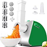 Electric Slicer&Electric Meat Grinder Combos, Meat Mincer with 3 Grinding Plates and Sausage Stuffing Tubes for Home Use &Commercial, Stainless Steel/2000W Max(Green)