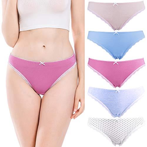 COMSOFT Damen Unterhosen Bikini Baumwolle Taillenslip Low Rise Slips mit Spitze 5er Pack (Mehrfarbig E 5er, S/8)