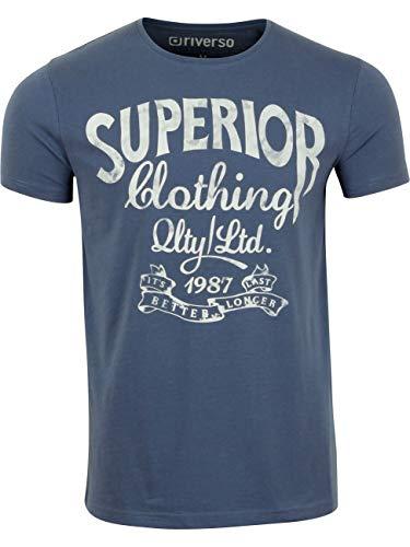 riverso Herren T-Shirt RIVLeon Rundhals O-Neck Kurzarm Tee Shirt Print Regular Fit 100% Baumwolle Grün Blau Weiß Grau Rot Orange S M L XL 2XL 3XL 4XL 5XL, Größe:XXL, Farbe:Blau (BJD)