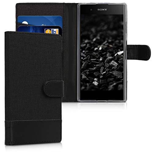 kwmobile Hülle kompatibel mit Sony Xperia XA1 Plus - Kunstleder Wallet Hülle mit Kartenfächern Stand in Anthrazit Schwarz