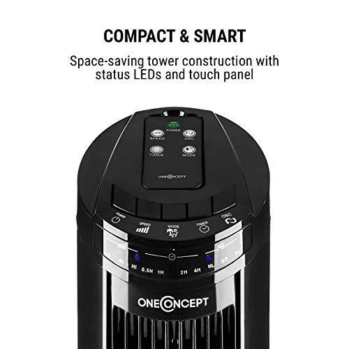 oneConcept flash ijskolom ventilator torenventilator ventilator (50 watt, 45 ° oscillatiefunctie, timer, 3 snelheidsniveaus, 3 ventilatiemodi, zuinig, met afstandsbediening) zwart