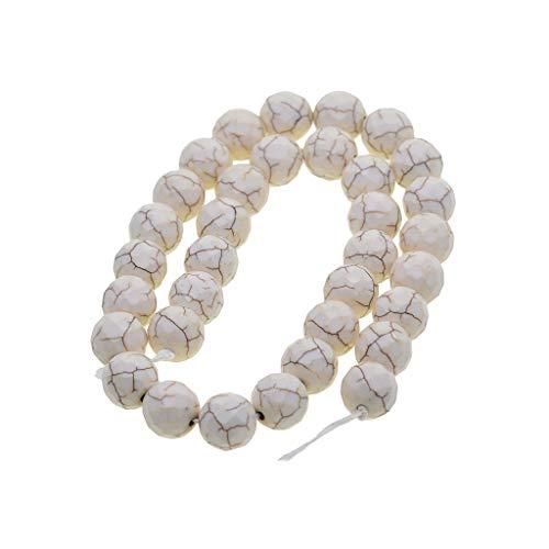 chiwanji Perlas Sueltas Redondas Facetadas Fabricación de Joyas Perlas de Piedra Piedra Preciosa Blanca Perforada - 12 mm 34 Cuentas