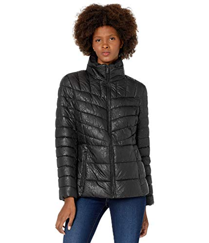 Kenneth Cole New York Zip Front Quilted Puffer Black Snake SM