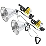 Simple Deluxe HIWKLTCLAMPLIGHTSX2 2-Pack Clamp Lamp Light with 5.5 Inch Aluminum Reflector up to 60 Watt E26 (no Bulb Included) 6 Feet 18/2 SPT-2 Cord, 2 Pack