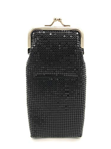 Women's Small Metal Mesh Eyeglasses Case with lighter pocket and Kiss Lock Closure (Black with Silver Frame)