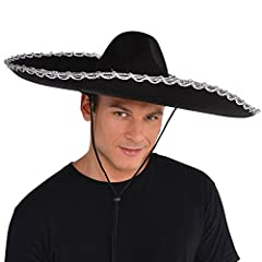 1 Hat Fits most teens and adults Black sombrero with silver trim around the brim Great for halloween parties, masquerades, gothic look, costumes parties or variety of occasions