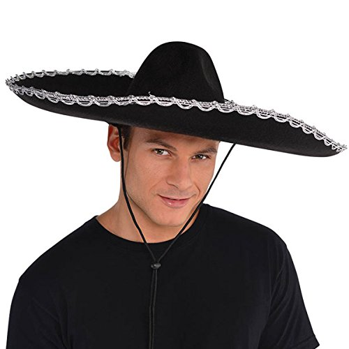 AMSCAN Silver Trim Black Sombrero Halloween Costume Accessories, One Size