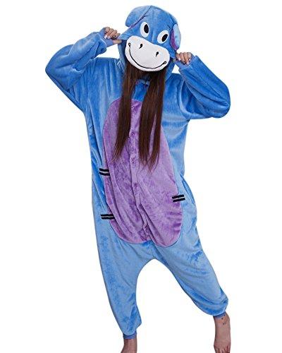 Flanell Blauer Esel Cartoon Tier einteiligen Pyjamas Sleepsuit Pyjamas Kostüm Cosplay Homeware (L(165-175cm), 11.Blauer Esel JP94)
