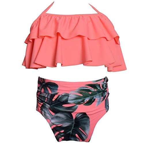 AOWKULAE Little Girls Bikini Swimsuits Two Pieces Ruffle Flounce Swimwear Bathing Suits, Hot Pink, 4-5 Years = Tag 116