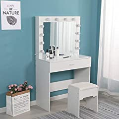 Superior Materials & Sturdy Frame: The table top of the vanity set is made of Particleboard ,which is smooth and flat. The seat can hold up to 220 pounds, enough to withstand the weight of an adult. Sturdy frame structure makes it does not wobble eas...