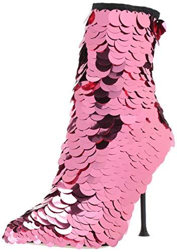 Sergio Rossi Damen-Stiefelette Sr Milano, Paillette, Pink (Flamingo Pink Pailletten, Schwarz Neopren), 37.5 EU