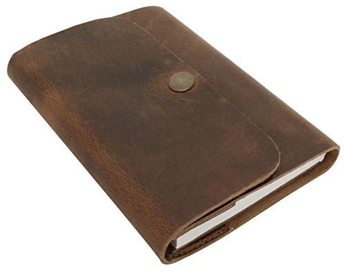 Gusti Notizbuch Leder - Virginia Buch Skizzenbuch Tagebuch Reisetagebuch Seiten nachfüllbar DIN C6 Schwarz